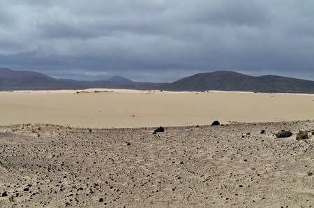 Parque Natural de las Dunas de Corralejo is a nature area with sand dunes in the north of Fuerteventura. This island in the Atlantic ocean is one of the Canary islands belonging to Spain Stock Photo