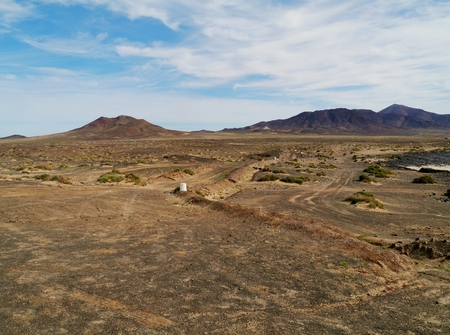The barren desert on the Jandis peninsula at the south west end of the Canary Island Fuerteventura in Spain photo