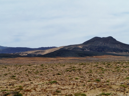 southwest: The barren desert on the Jandis peninsula at the south west end of the Canary Island Fuerteventura in Spain