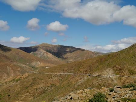 southwest: De dorre woestijn op de Jandis schiereiland in het zuidwesten einde van het Canarische eiland Fuerteventura in Spanje Stockfoto