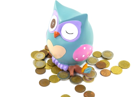 granting: A piggy bank or a money box with euro coins over white