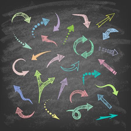 upward movements: hand drawn arrows icons set on the blackboard.