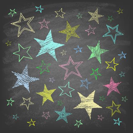 Set of hand drawn stars on the chalkboard.
