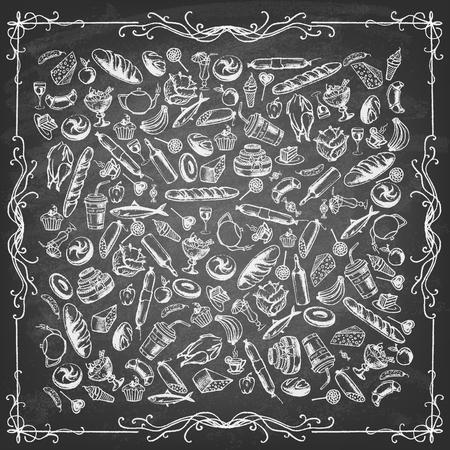 saucisse: Collection de nourriture dessiné à la main sur le tableau noir. Rétro conception vintage de la nourriture de style.