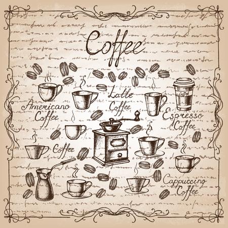 Uitstekende koffie collectie. Schetsen van de hand getekende koffie. Vector illustratie.