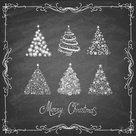 giftware: Christmas Tree Set Background, Trendy Design Template on the blackboard. Illustration