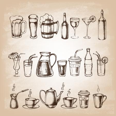 bebidas alcohÓlicas: Conjunto de diferentes bebidas dibujados a mano.