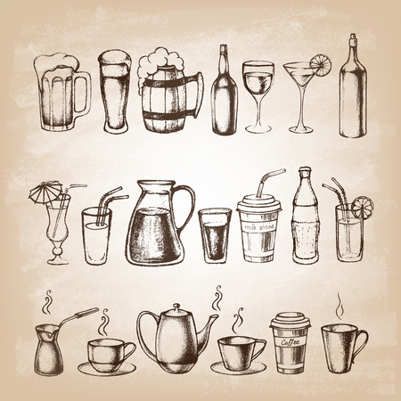 drinking: Set of different hand drawn beverages.