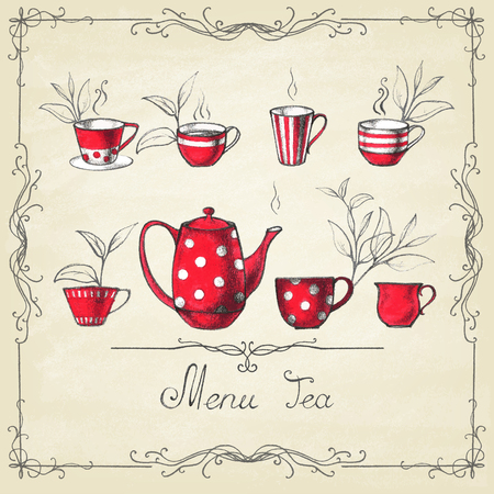 Set of tea collection with a tea cup in vintage style.
