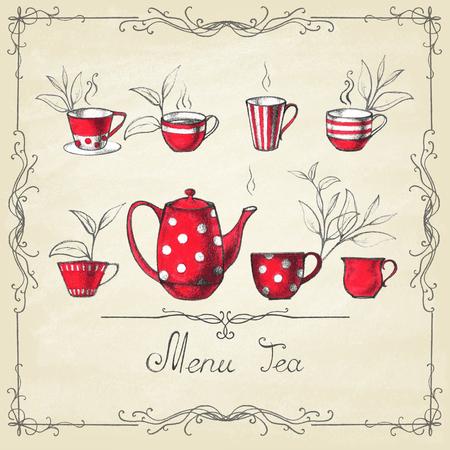 Set van thee collectie met een kopje thee in vintage stijl. Stock Illustratie