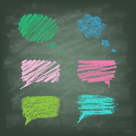Set van met de hand getekende doodle krijt banners op schoolbord. Talking bubble. Vector illustratie. Stock Illustratie