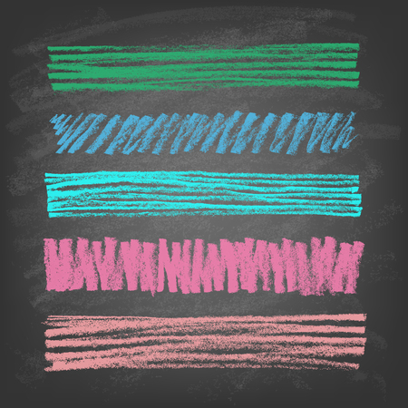 freehand: Set of hand-drawn doodle chalk banners on blackboard. Vector illustration.