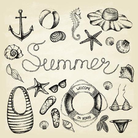 De zomer in te stellen. Hand getrokken retro iconen zomer strand ligt op een grunge papier achtergrond. Vintage-stijl. Vector illustratie. Stock Illustratie