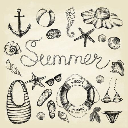 Summer set. Hand drawn retro icons summer beach set on a grunge paper background. Vintage style. Vector illustration.