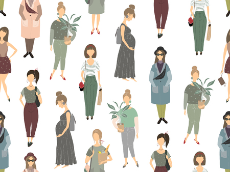 Silhouettes of girls, young women. Set of female figures. Vector illustration. Seamless pattern.