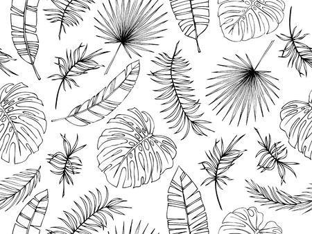 Set of tropical leaves. Drawing sketches of leaves. Vector illustration. Seamless pattern.
