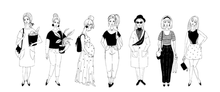 Silhouettes of girls, young women. Set of female figures. Vector illustration.