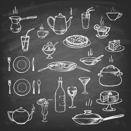 Set of hand-drawn sketches on a chalkboard. Vector illustration.