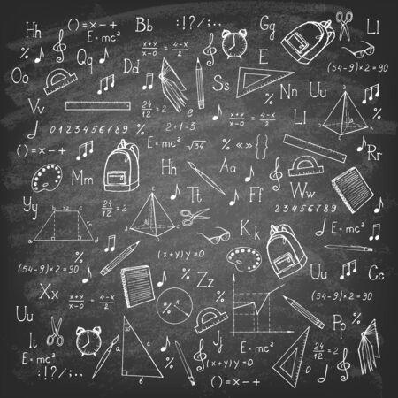 Articles scolaires de dessin à main levée sur tableau noir. Illustration vectorielle.