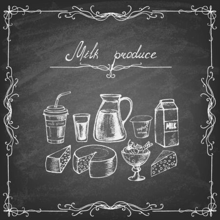 Milk products collection. Hand drawn elements. Vector illustration. Ilustração Vetorial