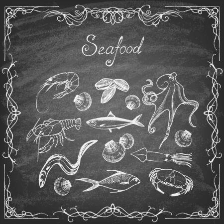 Set of hand drawn elements seafood on blackboard. Retro vintage style seafood design. Vector illustration.