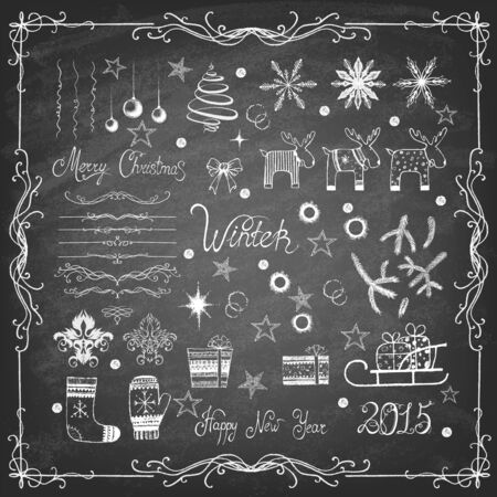 Set of Christmas icons and decorative elements on blackboard. Vector illustration.