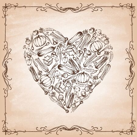 Heart shape made from hand-drawn vegetables on old paper. Vintage style. Vector illustration.