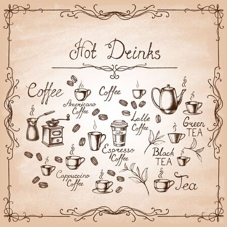 Vintage style. Hand-drawn Collection Sketches of hot drinks on old paper. Vector illustration.