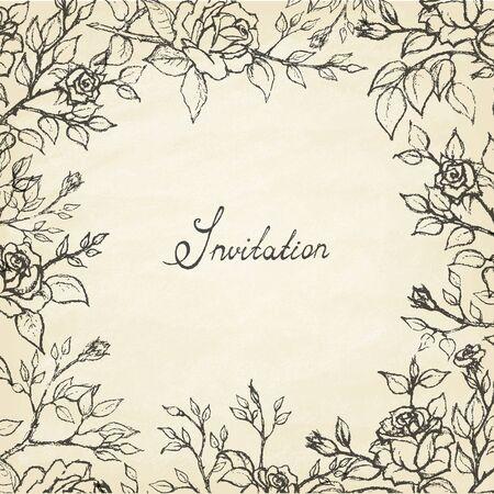 Vintage vector frame. Wild roses. Invitation. Vector illustration