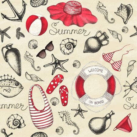 Summer set. Hand drawn retro icons summer beach set on a grunge paper background. Vintage style. Seamless pattern. Vector illustration.