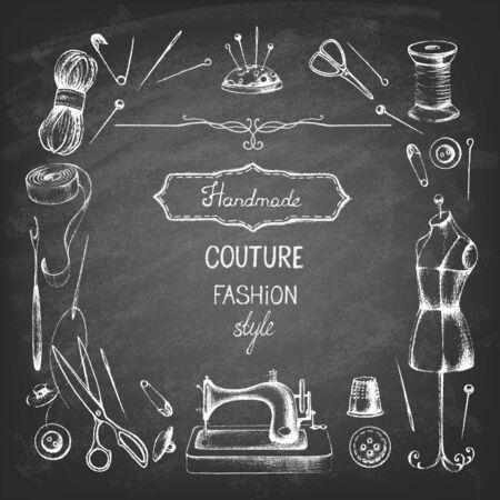 Set of needlework - scissors, measuring tape, mannequin, sewing on the chalkboard . Retro vintage style. Vector illustration.
