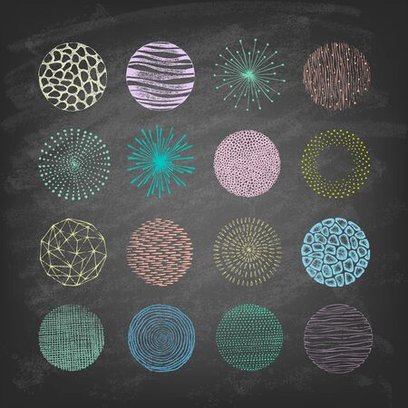 Collection of trendy Hand Drawn circles textures on the blackboard. Isolated. Vector illustration.
