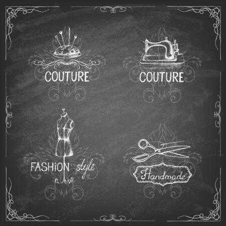 Retro vintage style. Set of tailor labels, emblems and design elements on the blackboard . Vector illustration