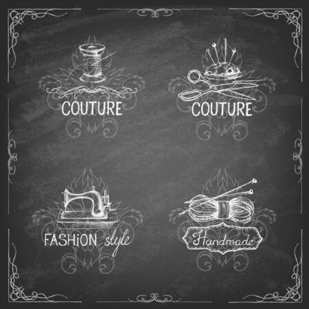 Retro vintage style. Set of tailor labels, emblems and design elements on the blackboard . Vector illustration
