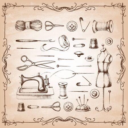 Set of needlework - scissors, measuring tape, mannequin, sewing on old paper . Retro vintage style. Vector illustration. Ilustração Vetorial