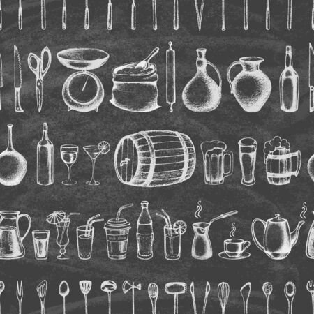 Set of silhouette kitchen tools and set of different hand drawn beverages on the blackboard. Doodle style. Set of Cutlery. Retro vintage style. Seamless pattern.Vector illustration.