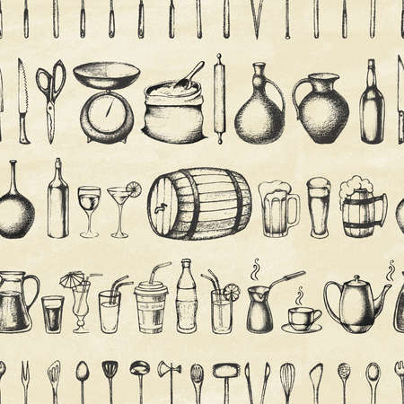 Set of silhouette kitchen tools and set of different hand drawn beverages on old paper. Doodle style. Set of Cutlery. Retro vintage style. Seamless pattern.Vector illustration.