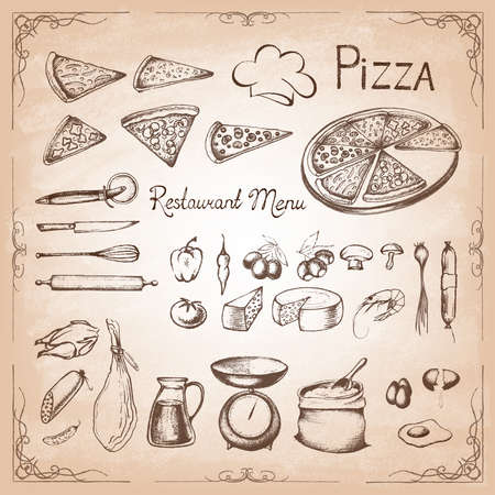 Pizza. Illustration of a vintage graphic element for menu. Retro vintage style. Set of ingredients. Vector illustration. Stock Illustratie