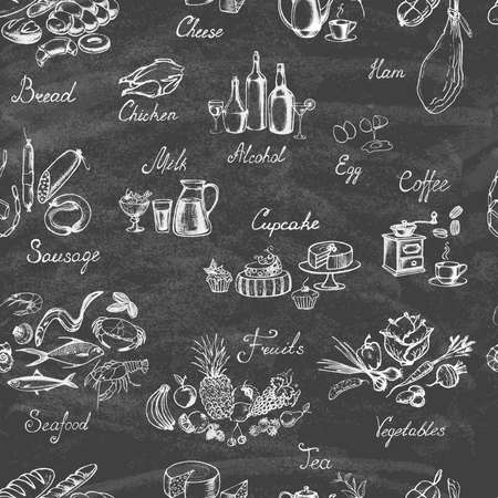 Retro vintage style. Set of hand drawn elements food on the blackboard. Seamless background. Vector illustration