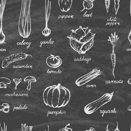 Collection of hand-drawn vegetables on the blackboard. on the blackboard. Seamless background. Vector illustration.