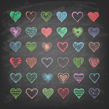Set of hearts on the blackboard. Hand drawn. Vector illustration.  일러스트