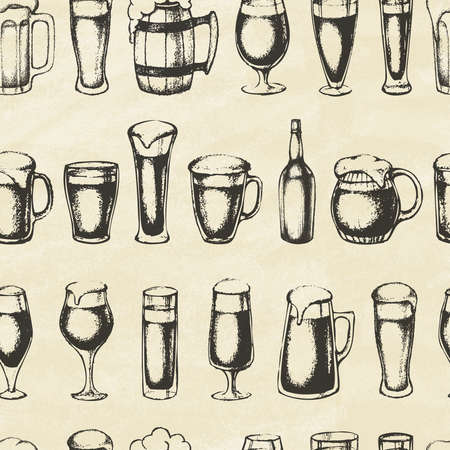 Set of beer mugs. Hand-drawn sketch elements. Seamless pattern. Vector illustration.