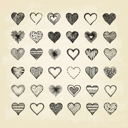 Set of hearts on old paper. Hand drawn. Vector illustration.
