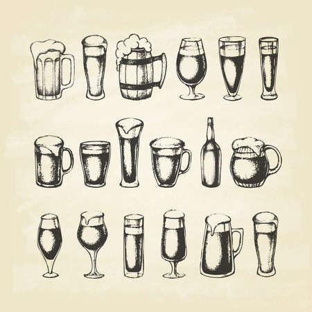 Set of beer mugs. Hand-drawn sketch elements on old paper. Vector illustration.