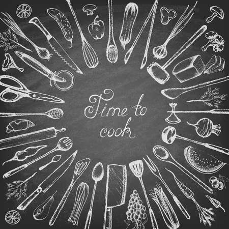 Set of silhouette kitchen tools and set of different hand drawn food elements on the blackboard. Doodle style. Set of Cutlery. Retro vintage style. Vector illustration.