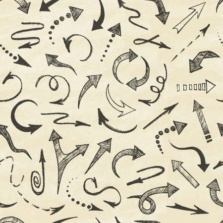Hand drawn arrows icons set. Seamless pattern. Abstract vector illustration.