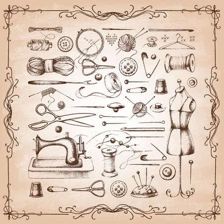 Set of needlework - scissors, measuring tape, mannequin, sewing on old paper . Retro vintage style. Vector illustration.