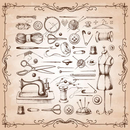 Set of needlework - scissors, measuring tape, mannequin, sewing on old paper . Retro vintage style. Vector illustration. 일러스트