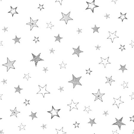Set of hand drawn stars. Retro vintage style. Seamless background .Vector illustration.