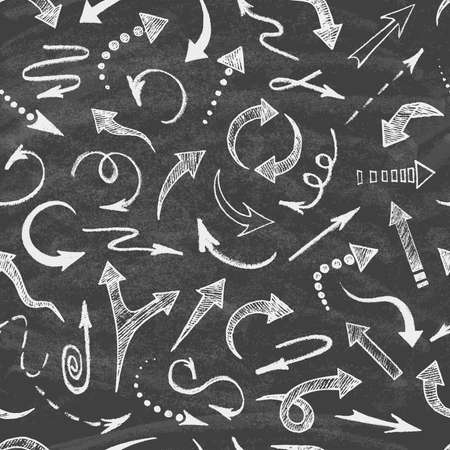 Set of arrows drawn in chalk on the blackboard. Seamless pattern. Abstract vector illustration.